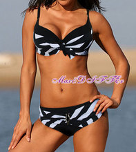 Sexy New black white Classic stripe bikini SWIMSUIT SWIMWEAR size M L XL XXL Free shipping within 24hours