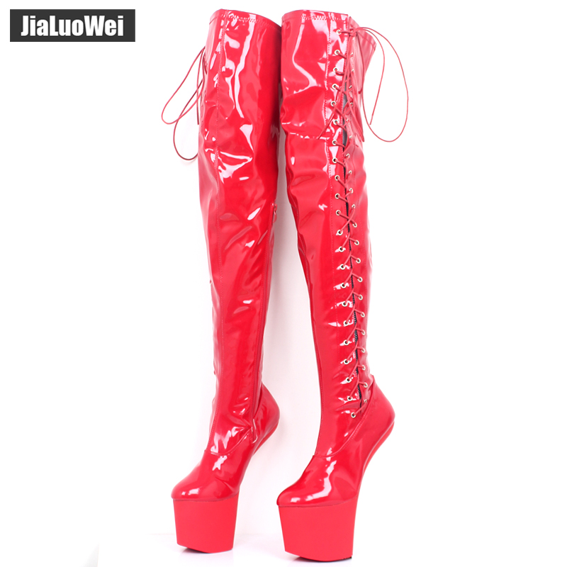 Women 20CM <font><b>Extreme</b></font> <font><b>High</b></font> <font><b>heel</b></font> 9CM Platform <font><b>Boots</b></font> Motorcycle Dance Nightclub <font><b>boots</b></font> <font><b>Sexy</b></font> <font><b>Fetish</b></font> Cross-tied over the knee Long <font><b>boots</b></font> image