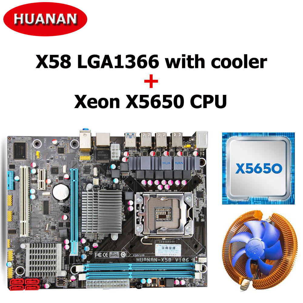 купить HUANAN X58 motherboard CPU combos with cooler USB3.0 X58 LGA1366 mainboard CPU Xeon X5650 support turbo boost all tested по цене 8863.47 рублей