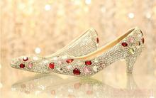5cm Low Heel Bridal Wedding Dresses lady's crystal formal shoes Jeweled  Evening Prom Party Bridesmaid Shoes Formal Shoes
