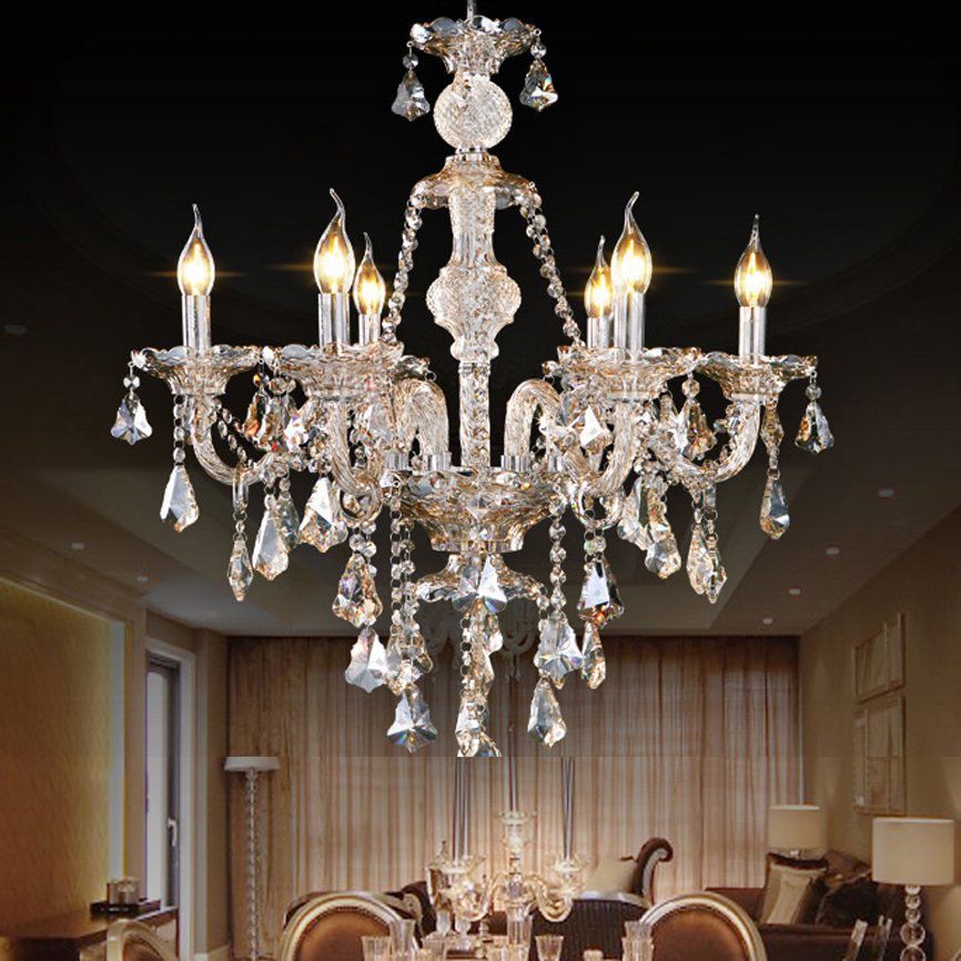 led e14 European Cognac Alloy Candle Crystal Chandelier lighting LED Lamp LED Light. For Dinning Room Foyer Bedroom