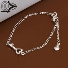 New Arrival!!Wholesale Silver Plated Anklets,New Design Fashion Silver Jewelry,Small Heart Key With Stone Anklets For Lover