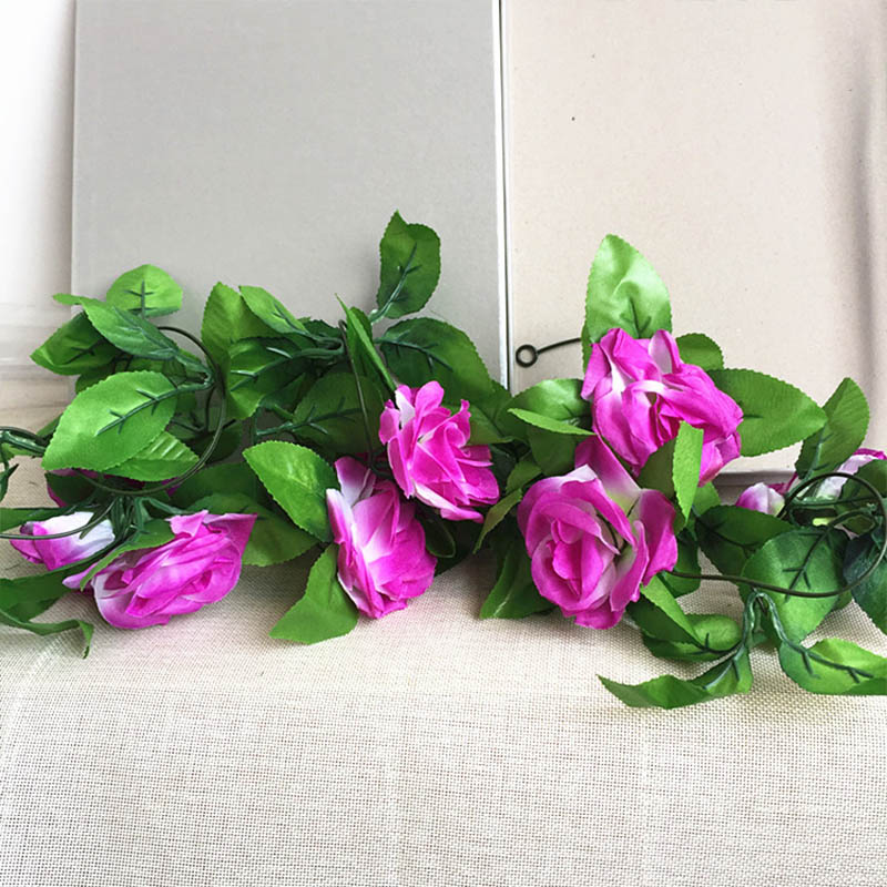 250CM/lot Silk Roses Artificial Flowers With Green Leaves For Home Wedding Decoration 17