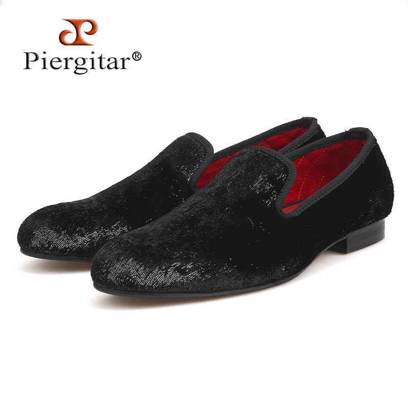 7975e804f Piergitar/2018 пять цветов ручной работы новый стиль мужчины Блестящий  бархат обувь модная праздничная и