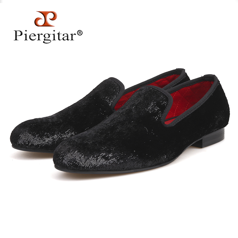 Piergitar 2018 Five colors Handmade New style men Shiny velvet shoes Fashion party and wedding men shoes plus size men loafers new five colors men special hemp handmade shoes men plus size slip on party and prom loafers fashion men flats size 4 17