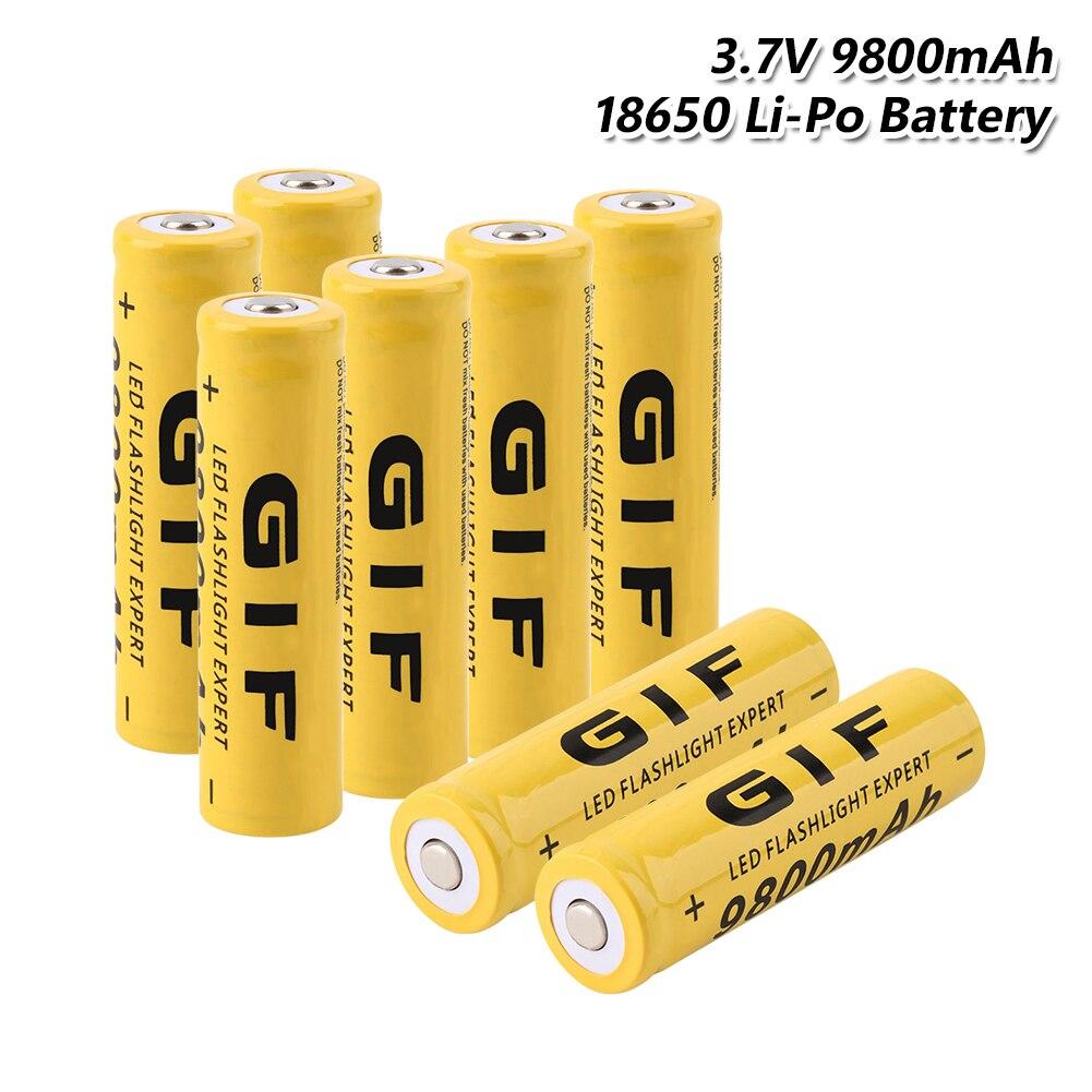 2019 YCDC 100 New Original 8Pcs High Capacity 9800mAh 3 7V GIF 18650 Li ion Lithium