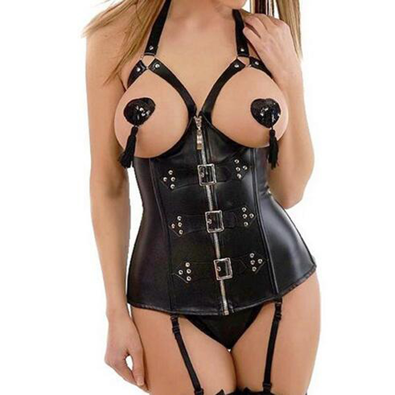 Wholesale Black Steam Punk Leather Open Bra Corset Bustier Sexy Lingerie Hot Women Lace Up Corset Tops Thong