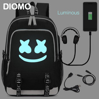 DIMOM cool Luminous USB Laptop Backpacks 2019 American Mystery DJ School Bag for Girls Boys Teenagers Children's Bookbag