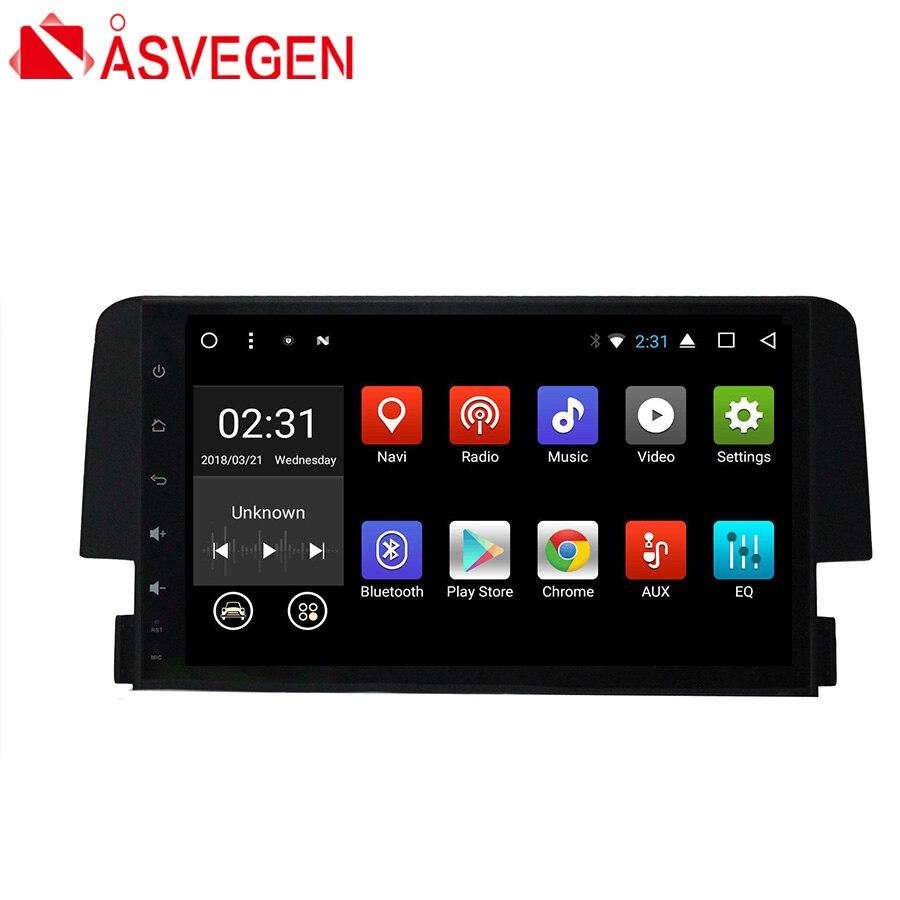 Asvegen 9 ''1 Din Android 7.1 Quad Core GPS De Voiture Navigation Stéréo Headunit Multimédia Vedio Radio Player Pour Honda Civic 2016
