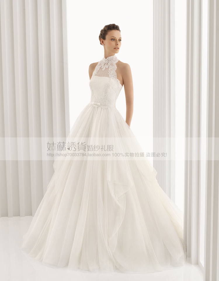 Turtleneck Halter Wedding Dress Gown
