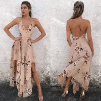 Ruiyige Spaghetti Strap Chiffon Beach Girls Dress Deep V Backless Cross Lace Up Asymmetric Long Gown