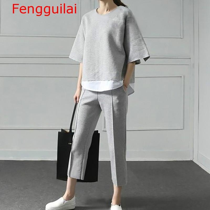 Fengguilai Autumn Two Pieces Set Women Suit Patchwork Hem Top With Elastic Waist Plus Size Calf Length Pants Female Clothes