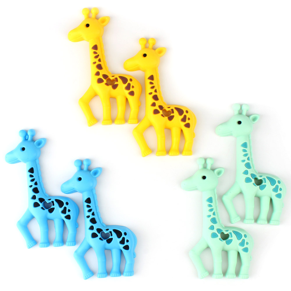 1pcs Silicone Giraffe Baby Teethers Rodent Beads DIY Chew Necklace Pacifier Chain Pendant Food Grade Silicone BPA Free