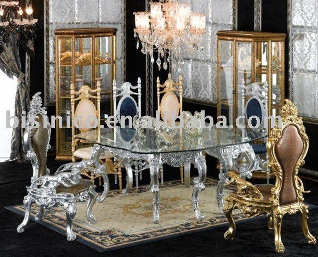 New Antique Hand Carving Luxury Dining Room Furniture Set Gl Top Round Table King Chair Silver Or Gold Plated