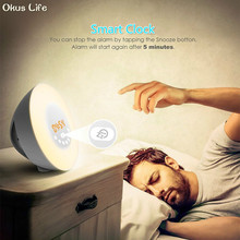 Newest Touch Sensing Digital Alarm Clock Sunrise Sunset LED Wake Up Lights With FM Radio Colorful Light Snooze Mode Nature Sound