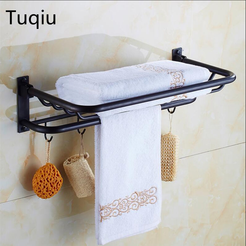 New arrival 60 cm Folding Bathroom Towel Rack Black Oil Brushed ...