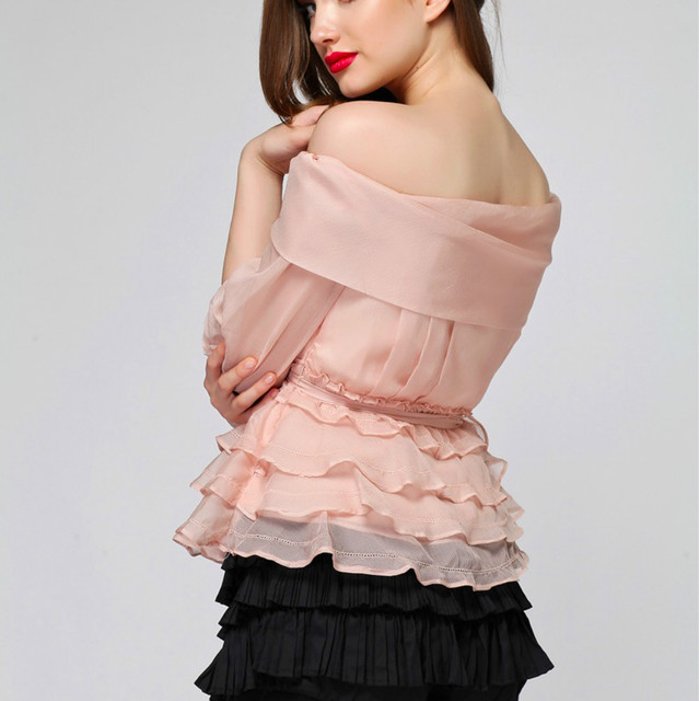 New 2018 Summer Women S Blouse Chiffon Sexy Off Shoulder Pink White