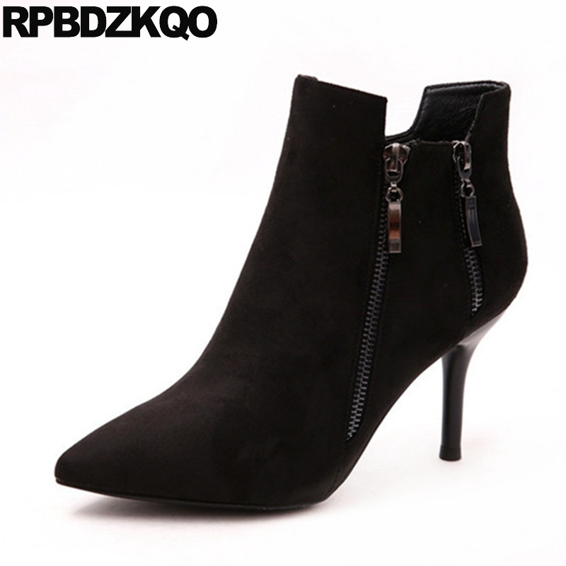 цены на Embellished Shoes High Heel Pointed Toe Suede Casual Black Short Booties Side Zip Boots Fall Stiletto Ankle Sexy 2017 Female в интернет-магазинах