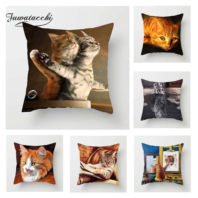 Fuwatacchi Cute Cats Cushion Cover Animals 3D Print Linen Square Pillow Cover For Home Sofa Room Chair Car Decorative Pillowcase