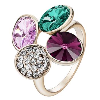 Hainon kwiat kształt owalny zielony różowy fioletowy złoty kolor pierścionki kryształowe pierścionki zaręczynowe biżuteria ślubna luksusowe pierścionki zaręczynowe tanie i dobre opinie Kobiety Miedzi Cyrkonia Pave ustawianie Moda Klasyczny Zespoły weselne GEOMETRIC 16mm Ślub Wszystko kompatybilny RB1037H-G
