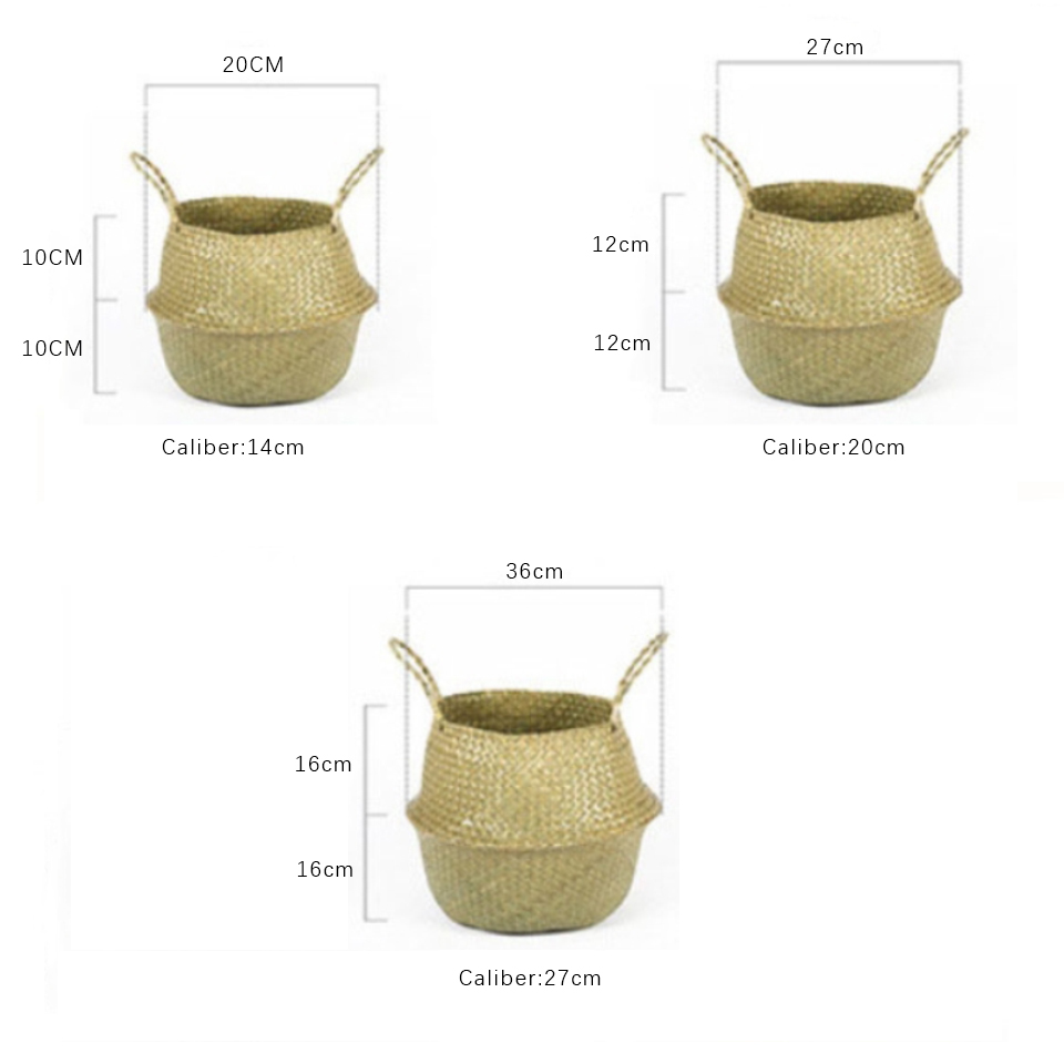Image 5 - Natural Seagrass Basket Foldable Laundry Basket Bamboo Woven Storage Basket Wicker Rattan Flower Pot Handmade Straw Plant Basket-in Storage Baskets from Home & Garden