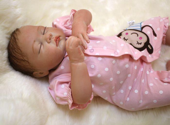 "Sudoll About 20"" Handmade Lifelike Newborn Baby Doll Reborn Soft Silicone Vinyl Close Eyes Doll Christmas Gift"