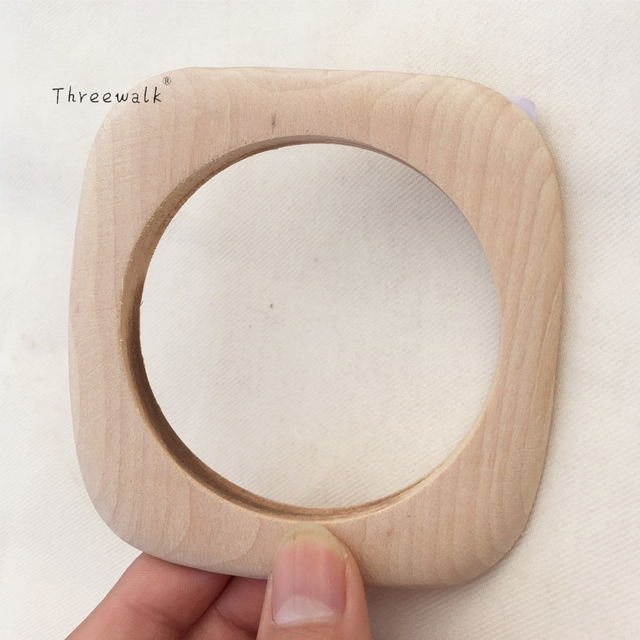 New Design Wholesale Unfinished Square Wooden Bangle Bracelet Womens
