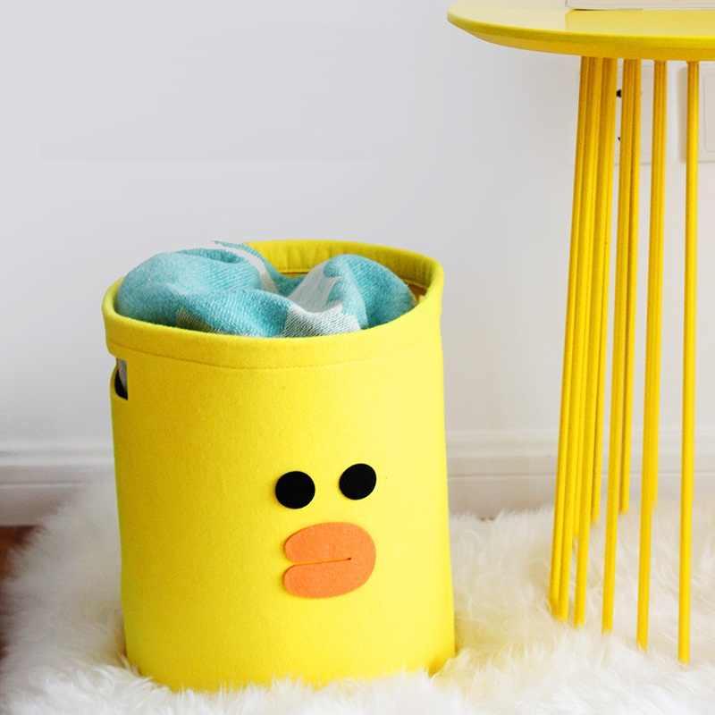 Nova pano de Feltro Tecido Cesto de roupa suja Cesta de Armazenamento de Mesa de Sala de Estar Quarto Caixa de armazenamento de Underwear Socks Bebê Brinquedos organizadores
