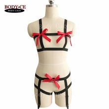 2017 New Women Sexy Body Harness 1 Set Goth Funny Erotic Lingerie,Crop Top,Bondage Cage,Wedding Garter belt,festival clothing
