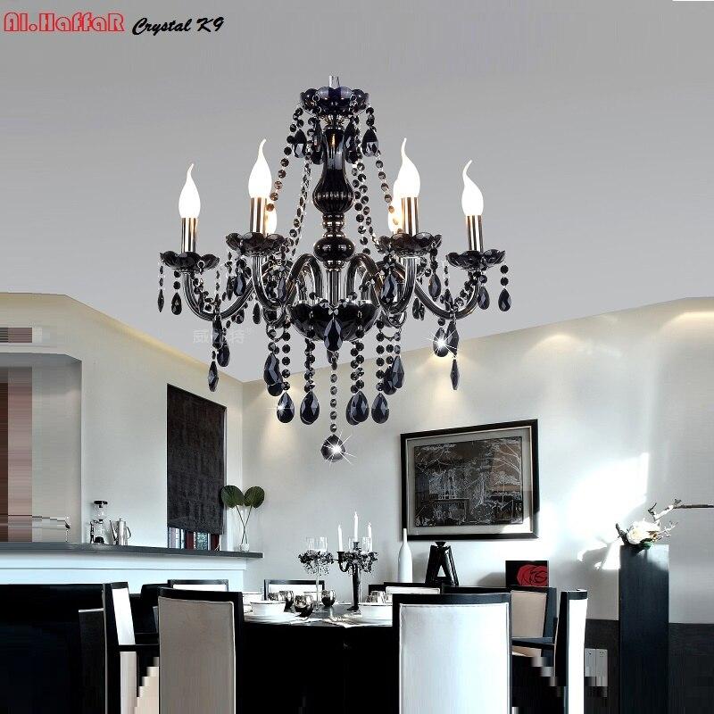 Zwarte kristallen kroonluchter licht moderne zwarte for Moderne verlichting eetkamer