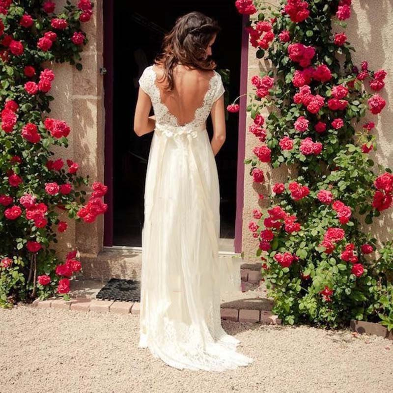 Cap Sleeve Low Back Beaded Beach Wedding Dress 2019 Vestido Noiva Simple White V neck Bridal