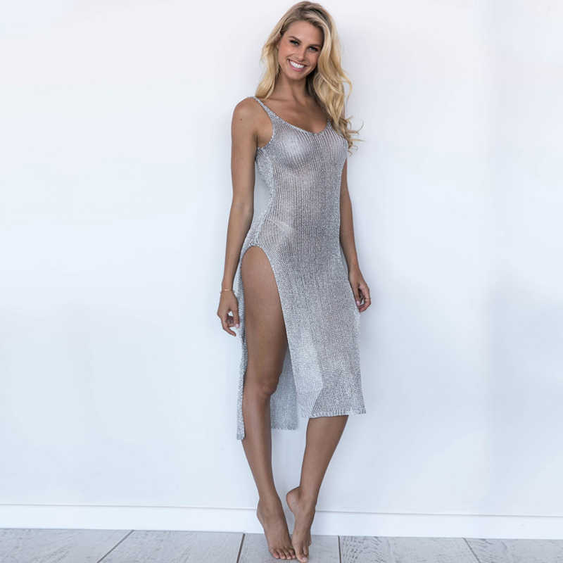 d6941cf3873 ... Sexy See Through Bodycon Dress Women Sleeveless Mesh Backless Split  Summer Party Golden Long Camis Dress ...