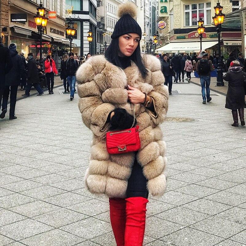 90 cm Mode Nouveau 100% Réel Renard Manteau De Fourrure Pour Femmes Manches Amovible Épais Chaud Fourrure De Renard Vestes D'hiver Offre Spéciale haute Qualité
