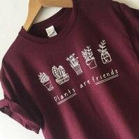 Женская футболка растения друзья модные рубашки для женщин розового цвета в винтажном стиле; футболка с буквенным принтом для женщин футбо...