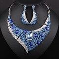 Продвижение Мода KC позолоченные Кристалл Стразы Ожерелье и серьги Африканских Ювелирные наборы Бусин