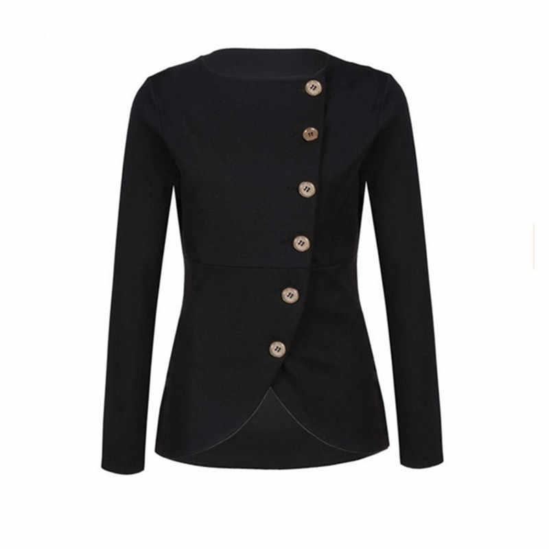 女性固体オフィスなしの襟女性の正式なコートスリムフィットトレンチジャケット生き抜く