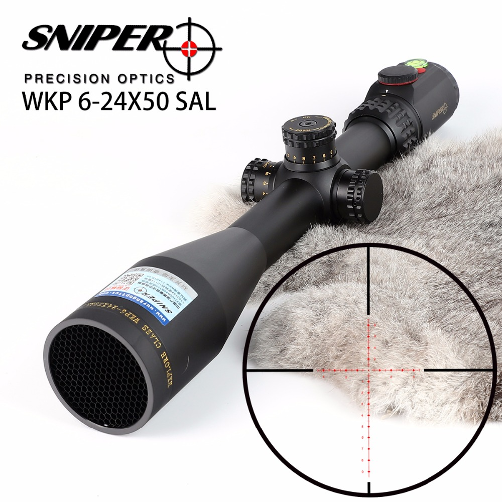 SNIPER WKP 6-24X50 SAL Hunting Rifle Scope Side Parallax Adjustment Glass Etched Reticle RG Illuminated with Bubble Level
