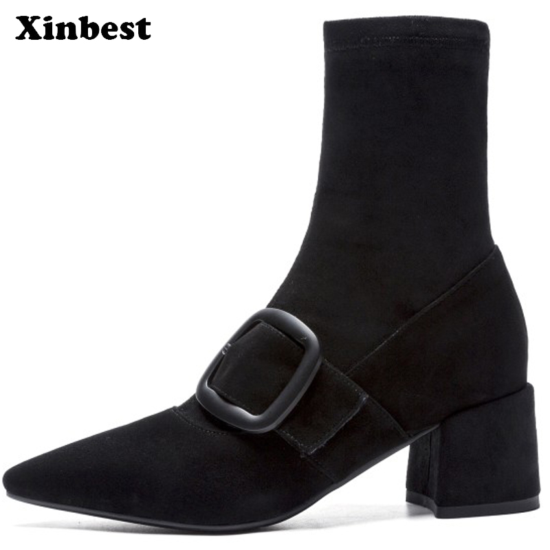Xinbest Women Brand Boots Pointed Toe Women High Heel Shoes Casual Fashion Ankle Boots For Women Square heel Winter Boots Women perixir women pu knee high black boots solid 3 cm low heel boots for women fashion shoes boots in winter square heel pointed toe