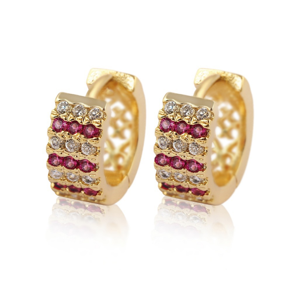 Hot Fashion Jewelry Earrings Gold Color Colorful Small Round Cute Korea  Circle Crystal Earring For Women