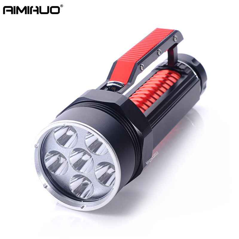 AIMIHUO Diving Flashlight LED 6 X CREE L2 8000LM Hard light Flashlight LED Torch Underwater Light For Rechargeable 26650 Battery high quality nightkonic 1 piece 26650 battery 3 7v li ion rechargeable battery for led flashlight torch