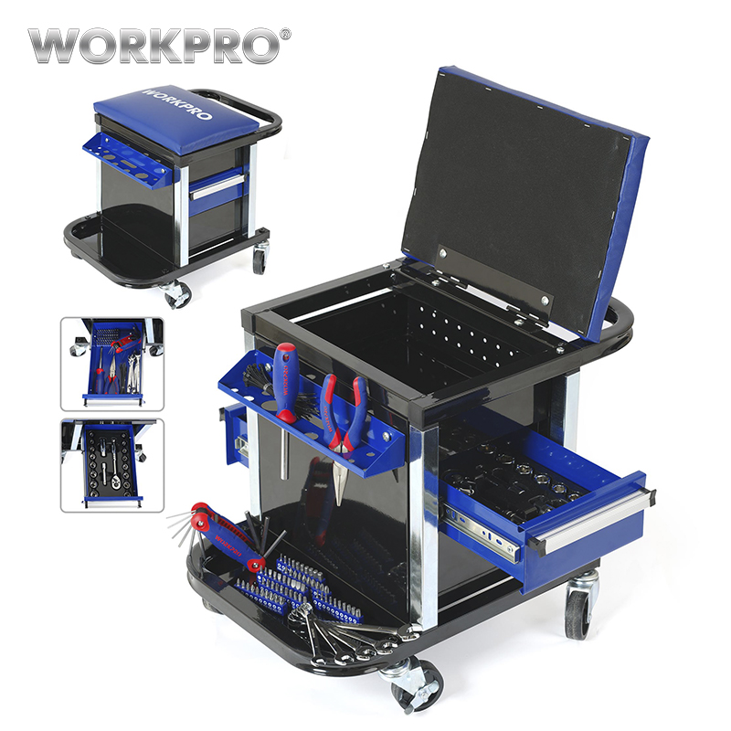 WORKPRO Car Repair Stool Tool Set Work Stool Tool Kits Screwdriver Ratchet Spanner Wrench Sockets Pliers Hex Key Workbench Seat 46pcs socket set 1 4 drive ratchet wrench spanner multifunctional combination household tool kit car repair tools set