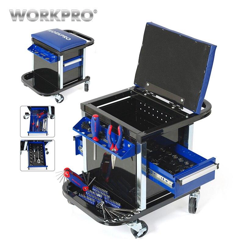 WORKPRO Tool Set pour Réparation Automobile Mis En Voiture de Outils Travail Tabouret Workbench Siège