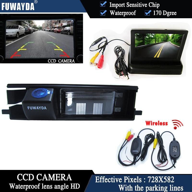 FUWAYDA sans fil couleur CCD voiture puce vue arrière caméra pour Toyota RAV4 RAV-4 + 4.3 pouces pliable LCD TFT moniteur HD étanche