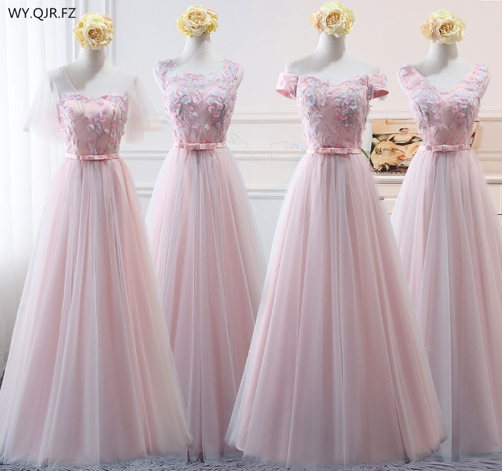 BSY999#Pink Net Yarn Boat Neck Lace Up Long Bridesmaid Dresses Wedding Party Dress Gown Prom Wholesale Fashion Women Clothing