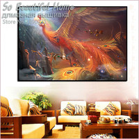 2016 New 3D DIY Diamond Painting Gold Phoenix Bird Drawings Pictures Of Crystals Hobby Mosaic Rhinestone