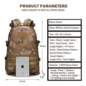 Image 3 - 1000D Nylon 40L Backpack For Men Women Camouflage Army Bags Mochila Militar Bags Casual Travel Waterproof Bags