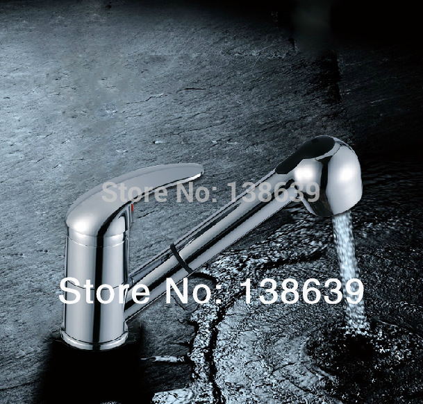 Hot Sell 360 degree Swivel Kitchen Faucet Pull Out Polished Chrome Basin Sink Deck Mounted Single