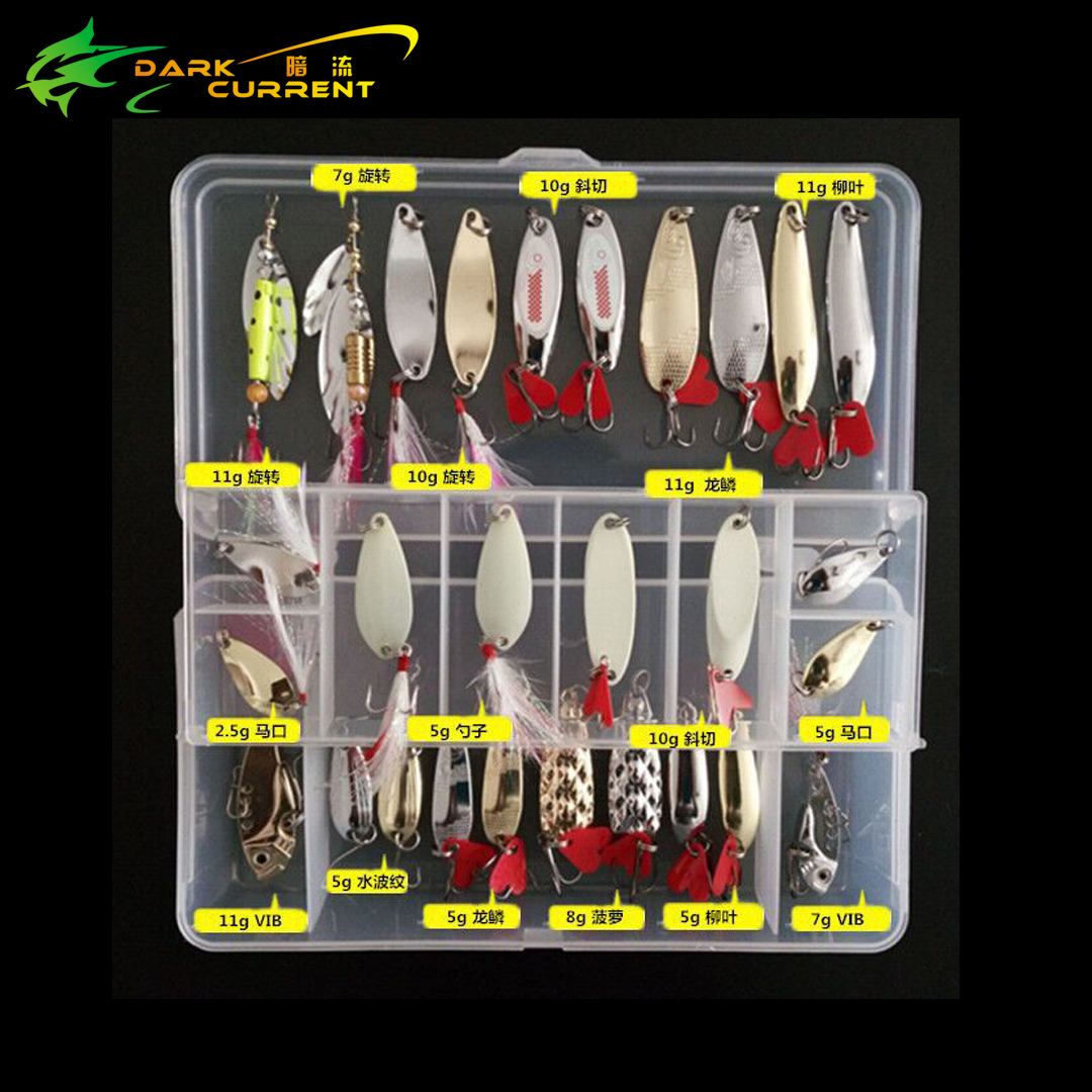 28PC/lot Fishing Lure Metal Lure Set Spoon hard Bait Kit Tackle Accesseories iscas artificial Fresh Water Bass Pike Fishing Gear allblue slugger 65sp professional 3d shad fishing lure 65mm 6 5g suspend wobbler minnow 0 5 1 2m bass pike bait fishing tackle