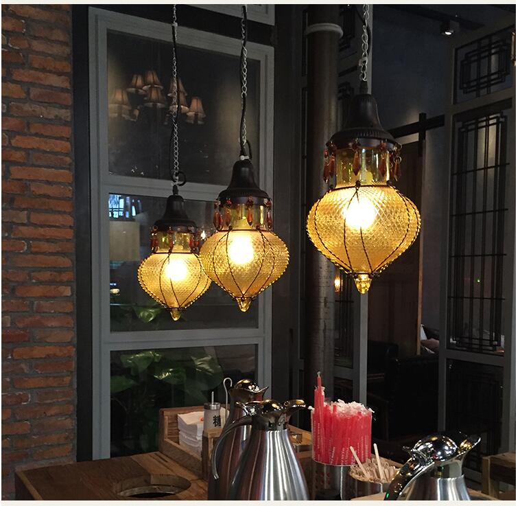 Free Ship! Bohemia Style Bar Coffee Pendant Lights Creative Color Crystal Pendant Lamp Mediterranean Restaurant Aisle LED Lamp light the mediterranean restaurant in front of the hotel cafe bar small aisle entrance hall creative pendant light df57