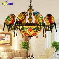 FUMAT Stained Glass Pendant Lamp Luxury Crystal Art Glass Birds Pendant Lights Living Room Lamps Parrot Retro Pendant Light